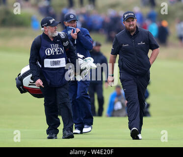 21st July, Portrush, Country Antrim, Northern Ireland; The 148th Open Golf Championship, Royal Portrush, final round; Shane Lowry (IRE) walks up the 10th fairway - Stock Photo