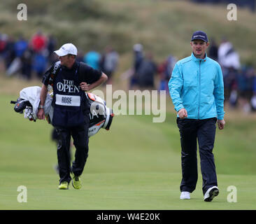 21st July, Portrush, Country Antrim, Northern Ireland; The 148th Open Golf Championship, Royal Portrush, final round; Justin Rose (ENG) walks up the 10th fairway - Stock Photo