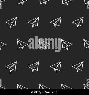 seamless pattern with paper airplanes in doodle, hand drawing style on a black background. Vector illustration - Stock Photo