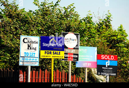 Row of for sale, sold, to let and let signs in row against trees,Lancashire.UK - Stock Photo