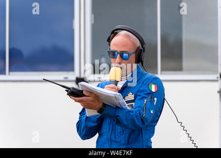 Captain Riccardo Chiapolino Commentator for the Italian Frecce Tricolori at Royal International Air Tattoo airshow, RAF Fairford, Cotswolds, UK. - Stock Photo