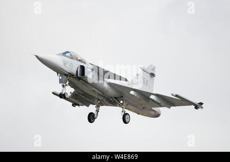 Swedish Air Force SAAB Gripen Jas 39 performing at the 2019 RIAT air show, Fairford, Gloucestershire, uk - Stock Photo