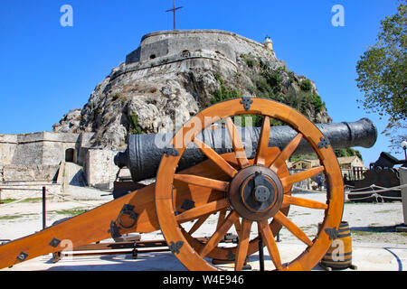 A cannon in front of the old Fortress in Corfu Town, Corfu, Greece - Stock Photo