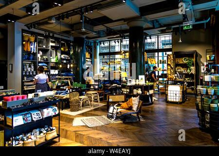 Interior of H&M Home homeware store in Regent Street / Carnaby, London, UK