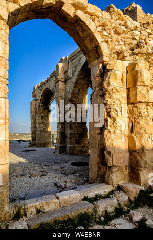 Stone archway in Montreal castle also called Shobak Shoubak or Shawbak ruins, Built by the Crusader king Baldwin I on the eastern side of the Arabah. - Stock Photo