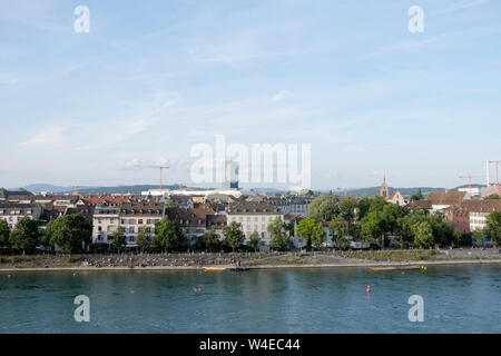A general view of Basel from the Pfalz viewing terrace, Switzerland - Stock Photo