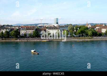 A view of Basel skyline and the Rhine from the Pfalz viewing, Switzerland - Stock Photo
