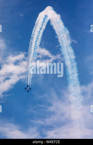 U.S. Navy Blue Angels (F/A-18 Hornets) - 2019 Fort Lauderdale Air Show, Fort Lauderdale, Florida, USA - Stock Photo