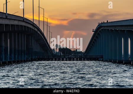 Close view between two bridges  at dawn