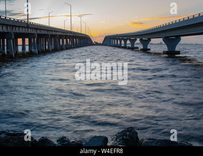 Wide angle view between two bridges  at dawn