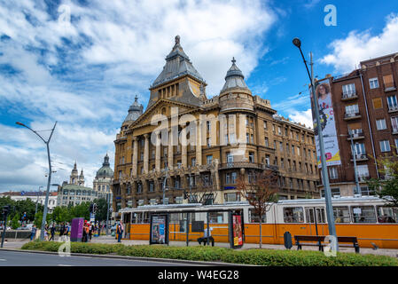 BUDAPEST, HUNGARY - JUNE 28: Tram line passing in front of a historic building in Budapest, Hungary on June 28, 2018 - Stock Photo