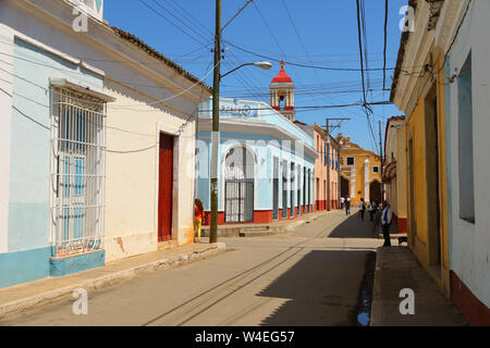 Old street of Remedios in Cuba - Stock Photo