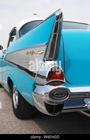 Beautiful Blue American Classic Car at Car Show - Stock Photo