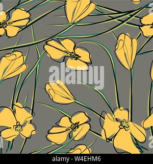 vector illustration of California state yellow poppies Stock Photo