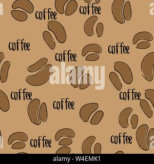 Hand drawn sketch vintage coffee beans seamless pattern. Vector illustration. Background for cafe and restaurant menu design - Stock Photo