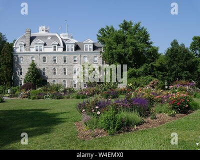 Swarthmore College is one of the best small colleges in the United States, with a beautifully landscaped campus. - Stock Photo