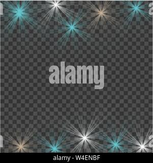 White beautiful light explodes with a transparent explosion. Vector, bright illustration for perfect effect with sparkles. Bright Star. Transparent sh - Stock Photo