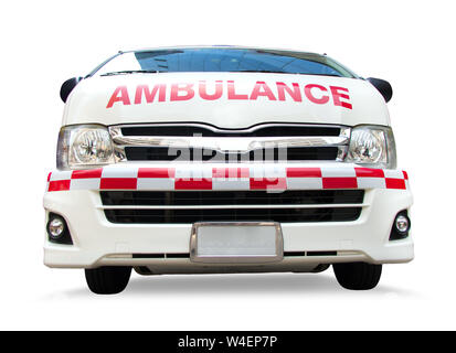 Ambulance car, front view. Emergency service van, isolated on white background. - Stock Photo