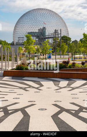 Montreal, Canada - 21 July 2019: Biosphere and newly renovated walkway in Parc Jean Drapeau - Stock Photo