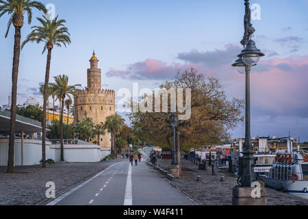 Torre del Oro tower - Seville, Andalusia, Spain - Stock Photo