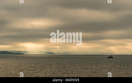 Newlyn, Cornwall, UK. 23rd July 2019. UK Weather. Early morning mist and clouds are forecast to lift this morning, however there is a risk of thundery showers later on in Cornwall.  Credit Simon Maycock / Alamy Live News. - Stock Photo