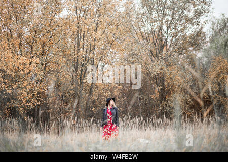 Photo of Beautiful girl in a red dress and black jacket walks among the tall grass in the field - Stock Photo