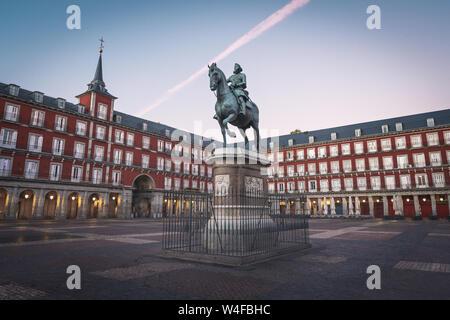Plaza Mayor and King Philip III statue - Madrid, Spain