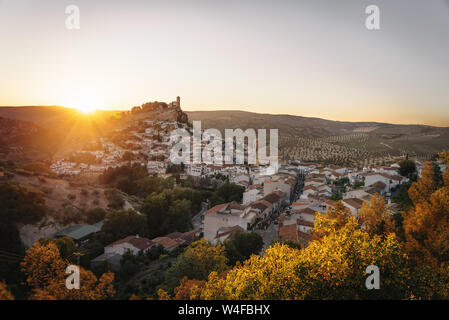 Aerial view of Montefrio city at sunset - Montefrio, Granada Province, Andalusia, Spain - Stock Photo