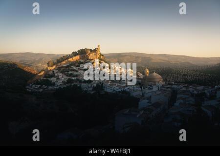 Aerial view of Montefrio city at sunrise - Montefrio, Granada Province, Andalusia, Spain - Stock Photo
