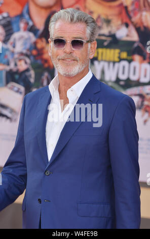 Los Angeles, USA. 22nd July, 2019. Pierce Brosnan arrives at the Sony Pictures' 'Once Upon A Time.In Hollywood premiere at the TCL Chinese Theatre in Los Angeles on July 22, 2019 in Hollywood, California Credit: Tsuni/USA/Alamy Live News - Stock Photo
