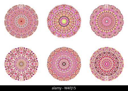 Round circular botanical pattern mandala set - geometrical abstract ornamental vector designs on background - Stock Photo