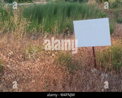 Weed-covered field with white blank metallic sign. Mock-up for sale announcement with copy space. - Stock Photo