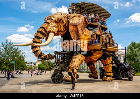 Nantes, the Great Elephant at Les Machines de l'île, created by François Delarozière and Pierre Orefice, ile de Nantes, Loire atlantique . France - Stock Photo