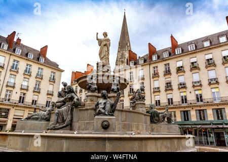 Fountain of place Royale of Nantes. Loire Atlantique. Pays de la Loire. France - Stock Photo