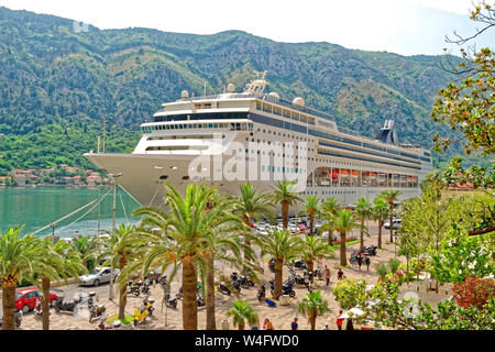 Cruise ship MSC 'Opera' at the cruise port of Kotor, Montenegro. - Stock Photo