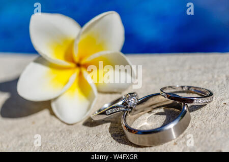 Bride and groom white gold wedding rings and a engagement ring near Frangipani (Plumeria) flower on the edge of the swimming pool. - Stock Photo