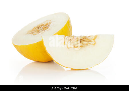 Group of one half one slice of fresh yellow melon canary with seeds isolated on white background - Stock Photo