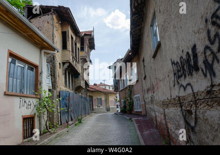 Eskisehir,TURKEY-May 19,2018: Traditional Turkish house waiting for restoration and renovation in Eskisehir - Stock Photo