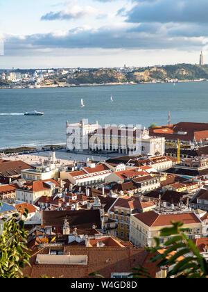 View over the city with Tejo River from Miradouro da Nossa Senhora do Monte, Lisbon, Portugal - Stock Photo
