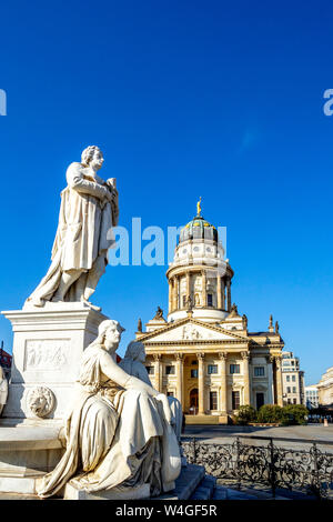 View to French Cathedral with Schiller Monument in the foreground, Gendarmenmarkt, Berlin, Germany - Stock Photo