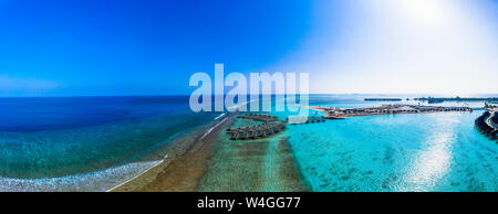 Aerial view of construction site, water bungalows, South Male Atoll, Maledives