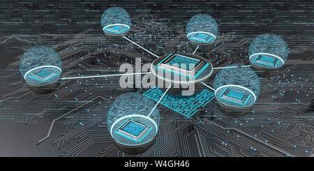 Connected microchips with circuit diagram, 3d illustration
