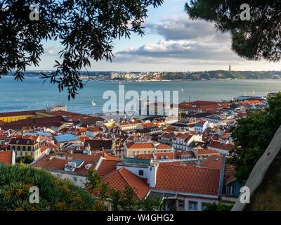View over the city from Miradouro da Nossa Senhora do Monte, Lisbon, Portugal - Stock Photo