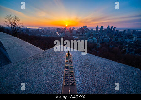 Canada, Quebec, Montreal, City view at sunrise, view from Mont Saint-Hilaire - Stock Photo