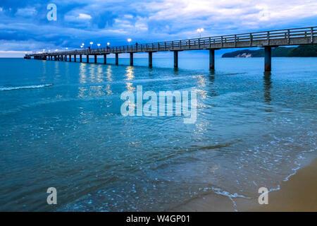 Sea bridge at twilight, Binz, Ruegen, Germany - Stock Photo