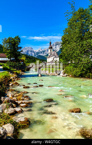 Parish church of St Sebastian with Reiteralpe mountain in the background, Ramsau, Germany - Stock Photo