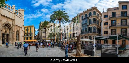 Majorca, Panoramabild vom Placa de la Llotja, Palma de Mallorca, Mallorca, Spanien - Stock Photo