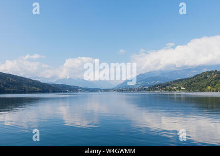 Millstatt Lake, view towards Seeboden, Carinthia, Austria - Stock Photo