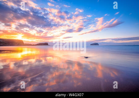 Bass Rock in distance at sunset, North Berwick, East Lothian, Scotland Stock Photo