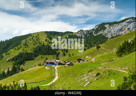 Austria, Tyrol, Maurach, Rofan Mountains, mountain huts - Stock Photo